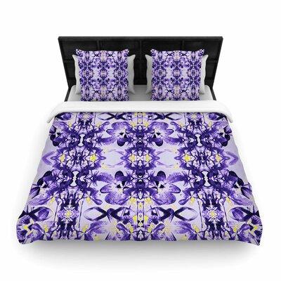 Dawid Roc Tropical Orchid Dark Floral  Woven Duvet Cover Color: Purple/Lavender, Size: King