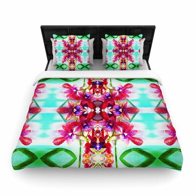 Dawid Roc Tropical Floral Orchids 2 Woven Duvet Cover