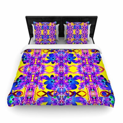 Dawid Roc Tropical Orchid Dark Floral  Woven Duvet Cover Size: Full/Queen, Color: Purple/Yellow