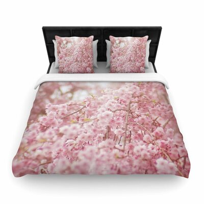 Debbra Obertanec Spring Pinks Floral Digital Woven Duvet Cover Size: Twin