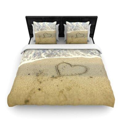 Debbra Obertanec Beach Heart Woven Duvet Cover Size: Full/Queen
