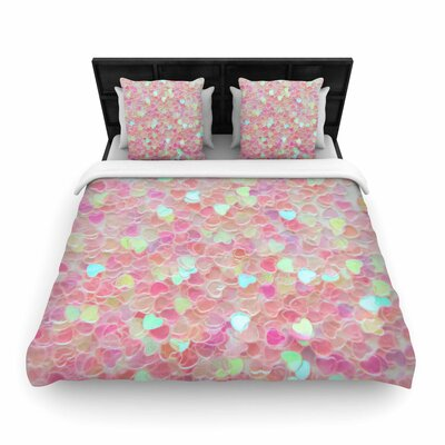 Debbra Obertanec Hearts Galore Pink Love Woven Duvet Cover Size: King