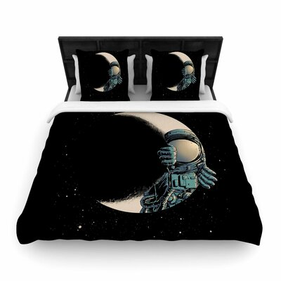 Digital Carbine Crescent Moon Illustration Woven Duvet Cover Size: King