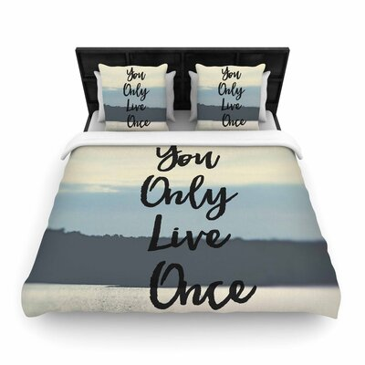 Debbra Obertanec Yolo Typography Woven Duvet Cover Size: Full/Queen