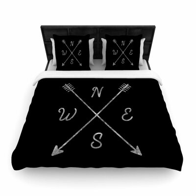 Draper Cardinal Direction Vintage Woven Duvet Cover Color: Black, Size: King