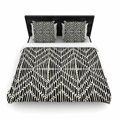 DLKG Tribal Drawings Woven Duvet Cover Size: King