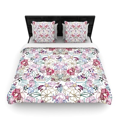 DLKG 'Cool Stitch White' Blush Woven Duvet Cover Size: Full/Queen
