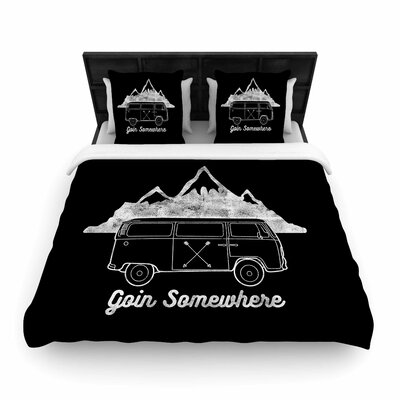 Draper Going Somewhere Typography Woven Duvet Cover Color: Black, Size: Full/Queen