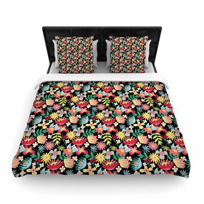 DLKG Flower Power Woven Duvet Cover Size: Full/Queen