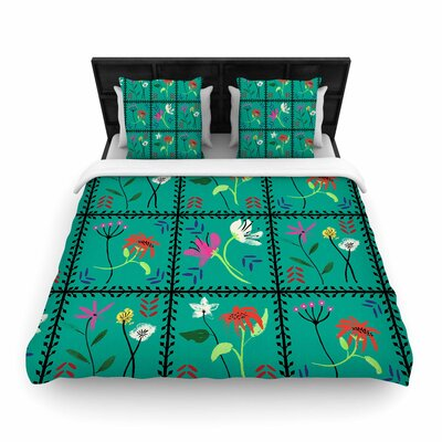 DLKG Simple Garden Tiles Floral Woven Duvet Cover Size: Twin