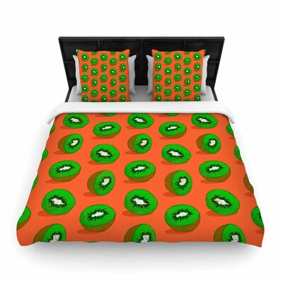 Evgenia Kiwifruit Woven Duvet Cover Size: King