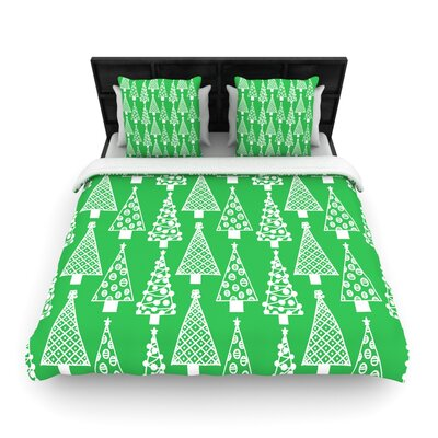 Emine Ortega Jolly Trees Woven Duvet Cover Size: Full/Queen, Color: Forest Green