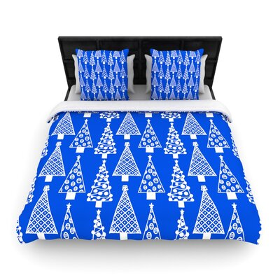 Emine Ortega Jolly Trees Woven Duvet Cover Color: Royal Blue, Size: King