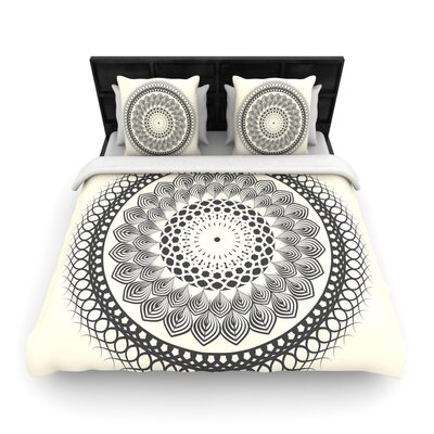 Famenxt Black and White Boho Mandala Geometric Woven Duvet Cover Size: Full/Queen