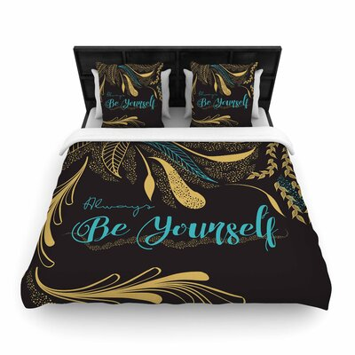 Famenxt Always Be Yourself Woven Duvet Cover Color: Gold/Black, Size: Full/Queen