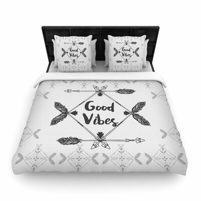 Famenxt Boho Good Vibes Woven Duvet Cover Size: Full/Queen