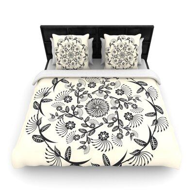 Famenxt Black and White Decorative Mandala Geometric Woven Duvet Cover Size: King