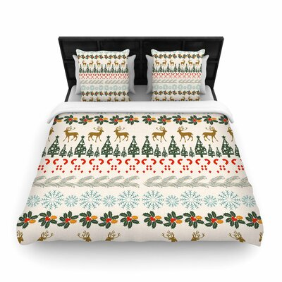 Famenxt Christmas Vibes Holiday Pattern Woven Duvet Cover Size: Full/Queen