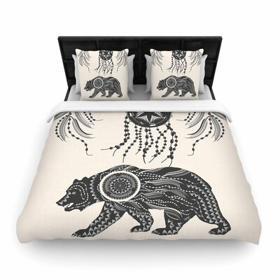 Famenxt Boho Ornate Bear Woven Duvet Cover Size: King