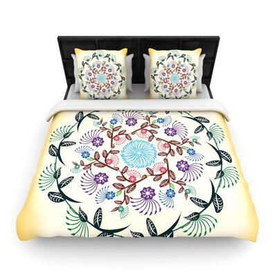 Famenxt Nature Mandala Woven Duvet Cover Size: King