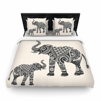 Famenxt Ornate Indian Elephant-Boho Woven Duvet Cover Size: Full/Queen