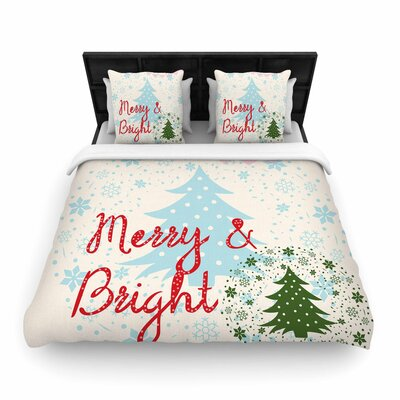 Famenxt Merry and Bright Holiday Woven Duvet Cover Size: King