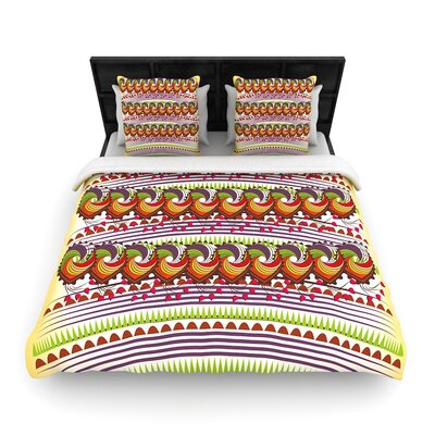 Famenxt Colorful Traditional Pattern Digital Woven Duvet Cover Size: King