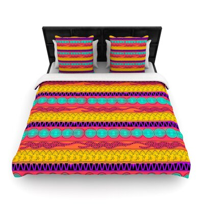 Famenxt Pattern Watercolor Colorful Woven Duvet Cover Size: Twin