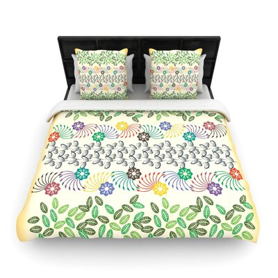 Famenxt Flowers and Leaves Pattern Geometric Woven Duvet Cover Size: King