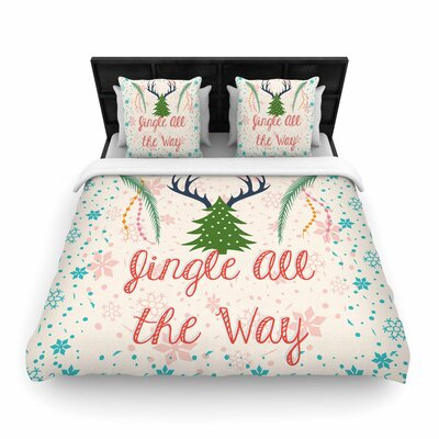 Famenxt Jingle All the Way Holiday Digital Woven Duvet Cover Size: Twin