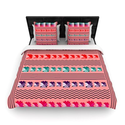 Famenxt Romantic Love Pattern Woven Duvet Cover Size: Full/Queen