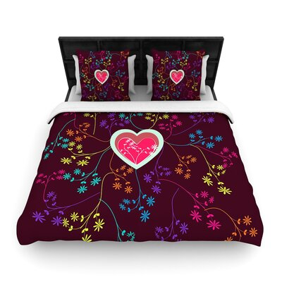 Famenxt Love Woven Duvet Cover Color: Multicolor, Size: Full/Queen