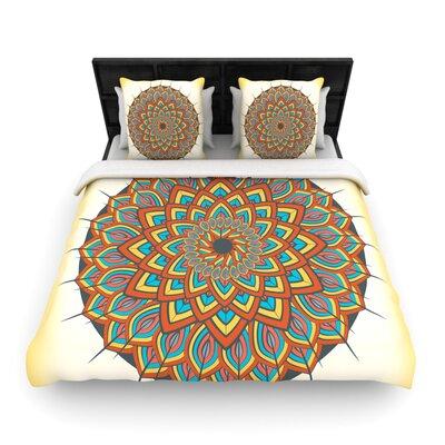 Famenxt Floral Mandala Geometric Woven Duvet Cover Size: King