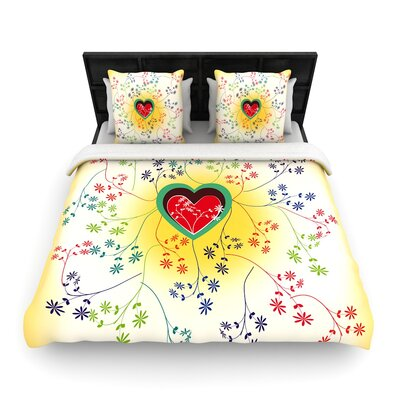 Famenxt Romantic Heart Woven Duvet Cover Size: Full/Queen
