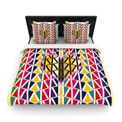 Famenxt Heart in Abstract Pattern Geometric Woven Duvet Cover