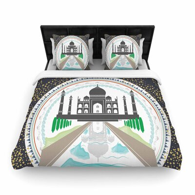 Famenxt The Taj Mahal India Woven Duvet Cover Size: King