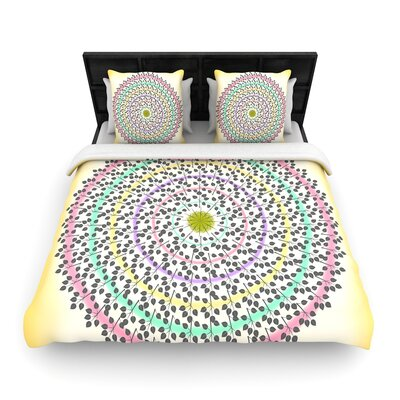 Famenxt Leafy Watercolor Mandala Woven Duvet Cover Size: King