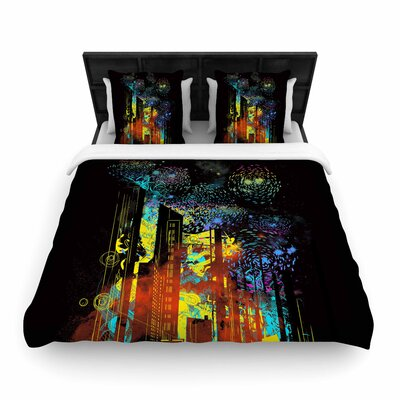 Federic Levy-Hadida Starry City Lights Rainbow Woven Duvet Cover Size: Twin