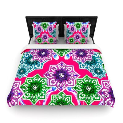 Fernanda Sternieri Flower Power Floral Woven Duvet Cover Color: Magenta/Red, Size: Full/Queen