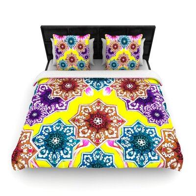 Fernanda Sternieri Flower Power Floral Woven Duvet Cover Size: Full/Queen, Color: Yellow