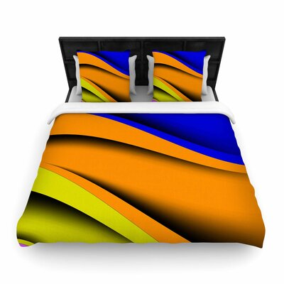 Fotios Pavlopoulos Colorful Flow Digital Woven Duvet Cover Size: Twin