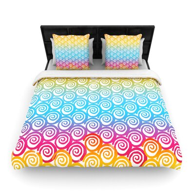 Frederic Levy-Hadida Ethnic Spirals Rainbow Woven Duvet Cover Size: King