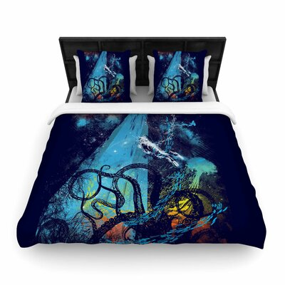 Frederic Levy-Hadida Danger from the Deep Blue Underwater Woven Duvet Cover Size: King