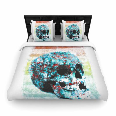 Frederic Levy-Hadida Floral Skully 2 Woven Duvet Cover Size: Full/Queen