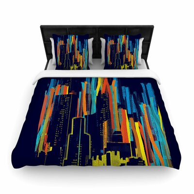Frederic Levy-Hadida Strippy City Woven Duvet Cover Size: King
