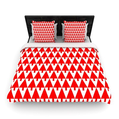 Gabriela Fuente Happy X-Mas Geometric Illustration Woven Duvet Cover Color: Red