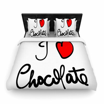 Gabriela Fuente I Love Chocolate Food Typography Woven Duvet Cover Size: King