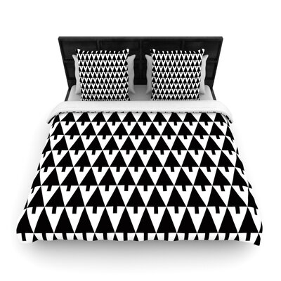 Gabriela Fuente Happy X-Mas Woven Duvet Cover Color: Black/White, Size: King