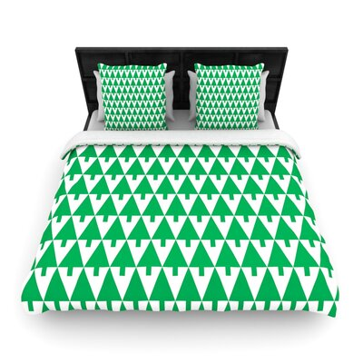 Gabriela Fuente Happy X-Mas Geometric Illustration Woven Duvet Cover Color: Green