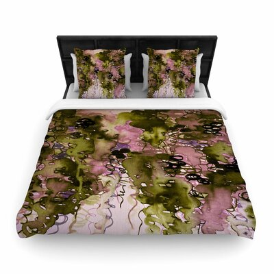 Ebi Emporium Beauty in the Rain Woven Duvet Cover Size: Twin, Color: Olive/Pink
